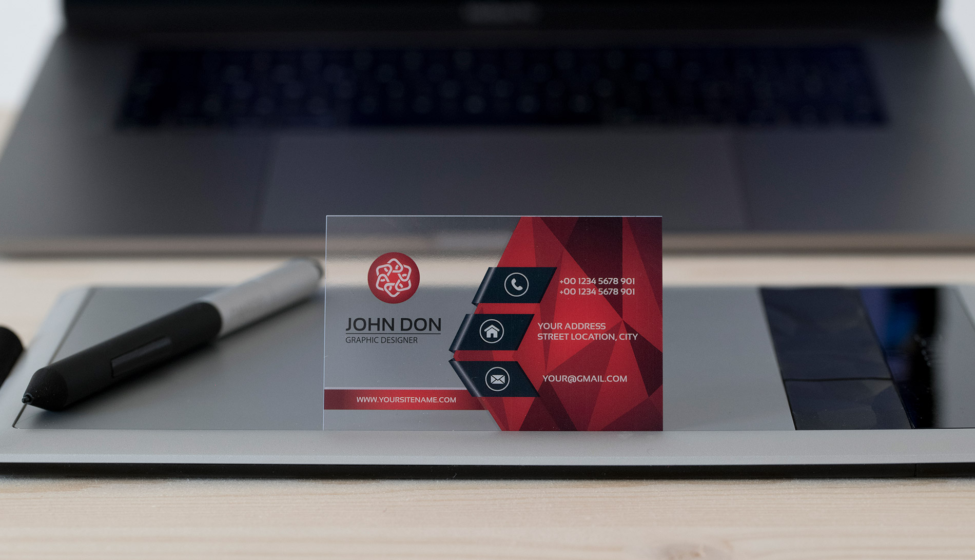 Business card suitable for engineers, architects, visual designers in transparent 400 micron clear PVC with red graphics and white lettering, offset-uv printed from CREA TO PRINT.